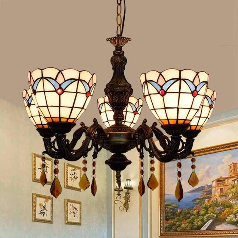 Европейская Современная средиземноморская гостиная, спальня бар, Клубная кофейня, витражное стекло, 5 люстр.