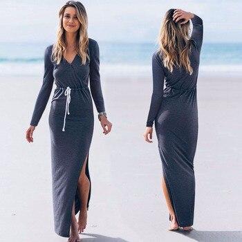 2018 European design women V neck split long pencil dress autumn full sleeves elegant women casual long dress with sash dress with drawstring waist