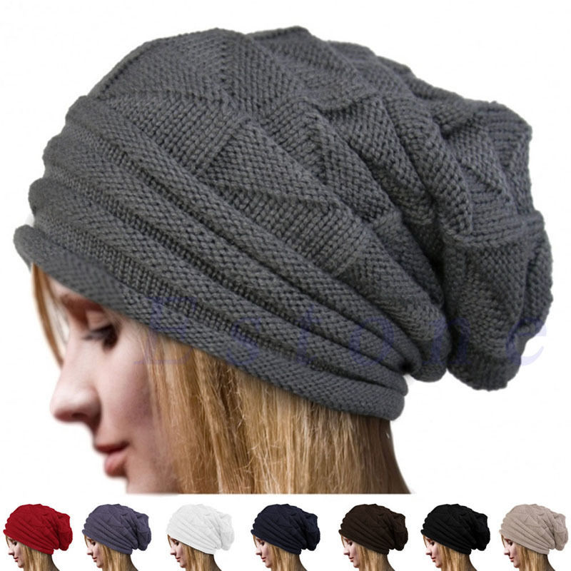 Mens Womens Winter Warm Knitted Baggy Slouchy Solid Cotton Beanie Hat Ski Cap