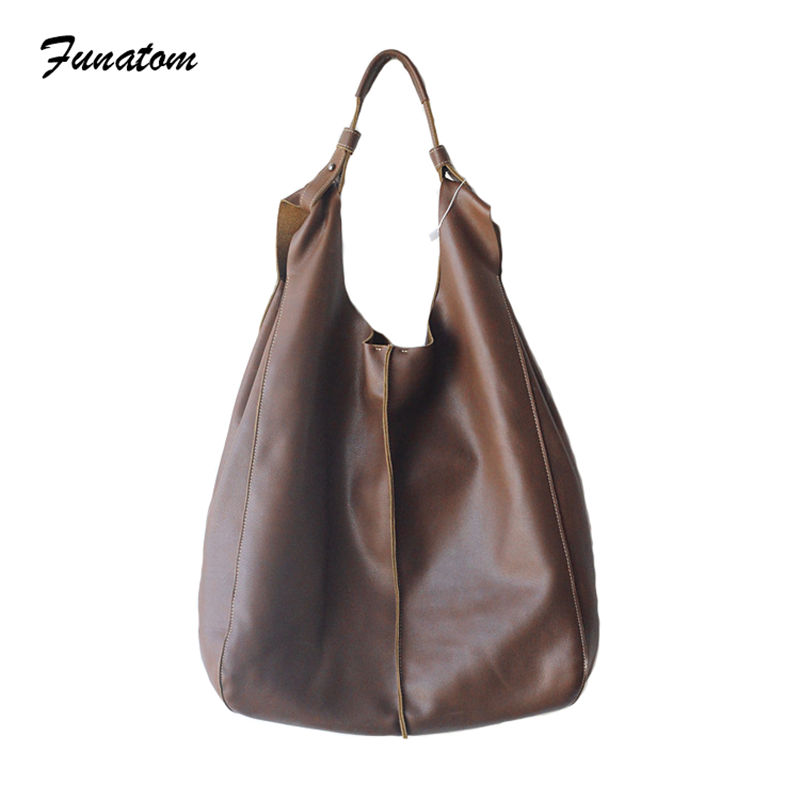 2018 New Fashion Soft Real Genuine Leather Women's Handbag Ladies Vintage Shoulder Tote Big Hobo Bag Japanese-style 2018 new style genuine leather woman handbag vintage metal ring cloe shoulder bag ladies casual tote fashion chain crossbody bag