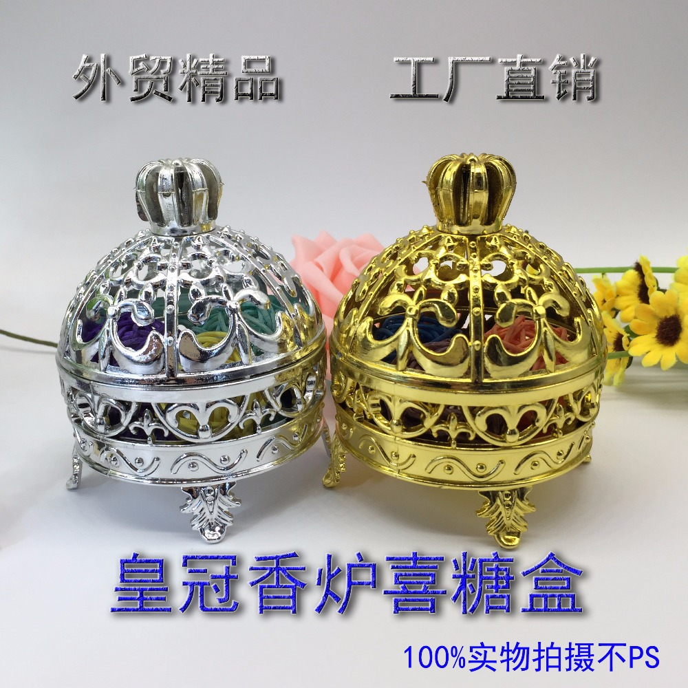 European creative plastic golden silver candy boxes wedding favor - Festive and Party Supplies
