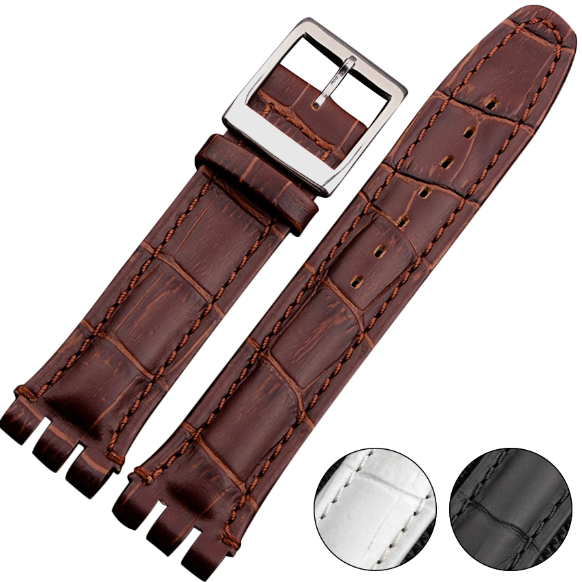 High Quality 17mm 19mm 23mm Waterproof Genuine Leather Watch Strap Band For Swatch Croco Pattern Black Brown White eache silicone watch band strap replacement watch band can fit for swatch 17mm 19mm men women