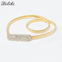 Diliks 1Pc New Retail Spring And Summer Fashion Wild Golden Decorative Metal Thin Belt Women's Elastic Thin Waist Belts