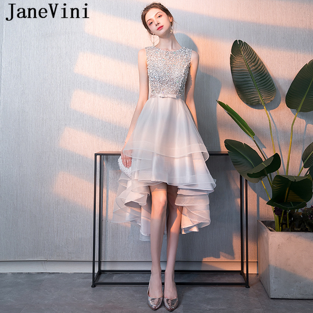 89201b5716974a JaneVini High Low Luxury Sequined Beaded Silver Gray Bridesmaid Dresses A  Line Sleeveless Sheer Back Tea-Length Tulle Prom Gowns