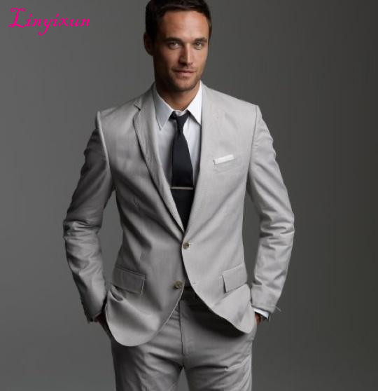 Linyixun Light Grey Tuxedos Custom Made Men's Suits Prom Suits Groomsmen Mens Wedding Suits