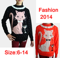 2014 Girl children's clothing thickening sweater o-neck child kitten lace collar free shipping