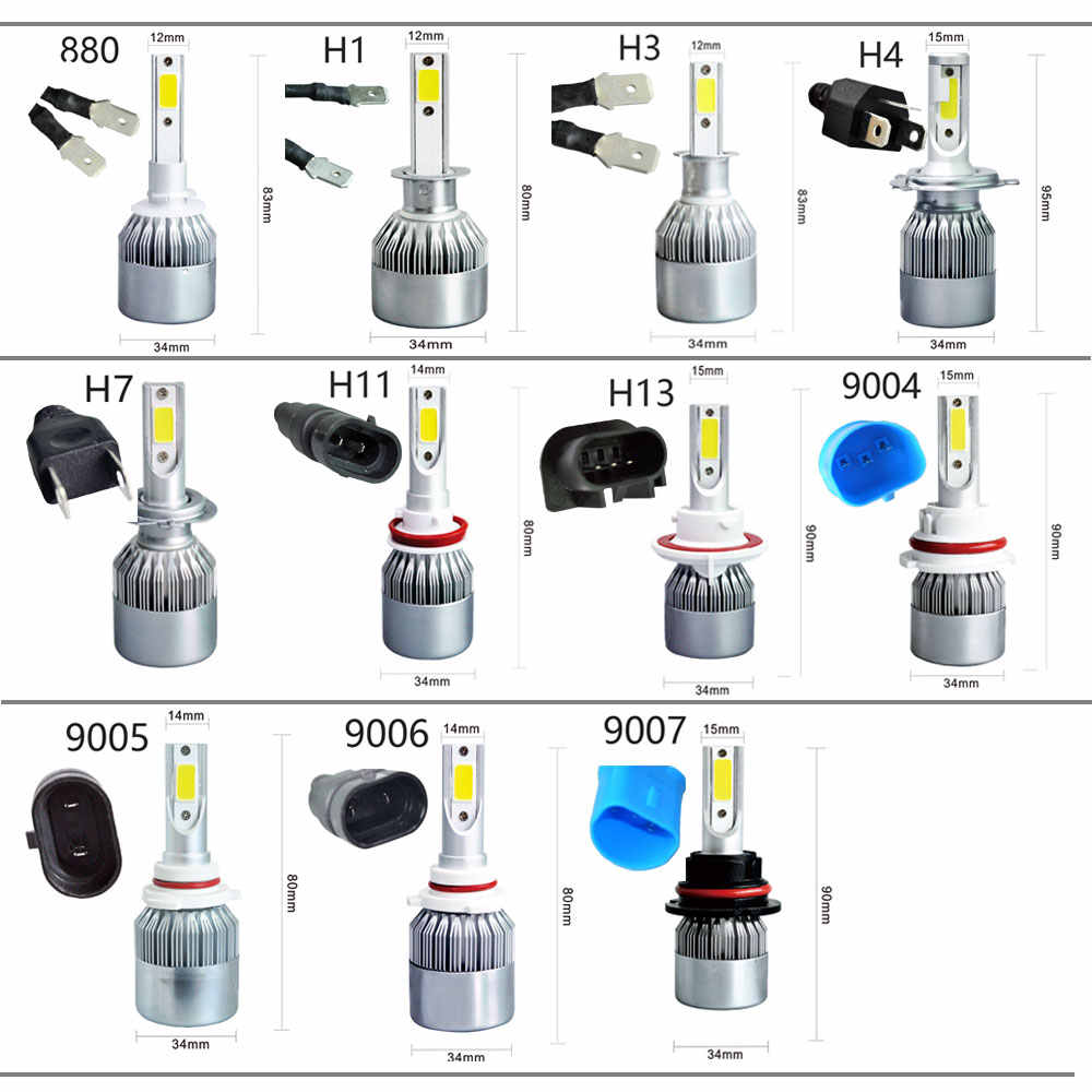 H1 H3 H4 H7 H11 9005 9006 9007 C6 Cветодиодные лампы для авто фары led лампа ходовые огни лед диодные лампы для авто фар автомобиля  6000 К 72 Вт 8000LM Foglight фар луч авто аксессуары все в одном автомобиле 2 шт.