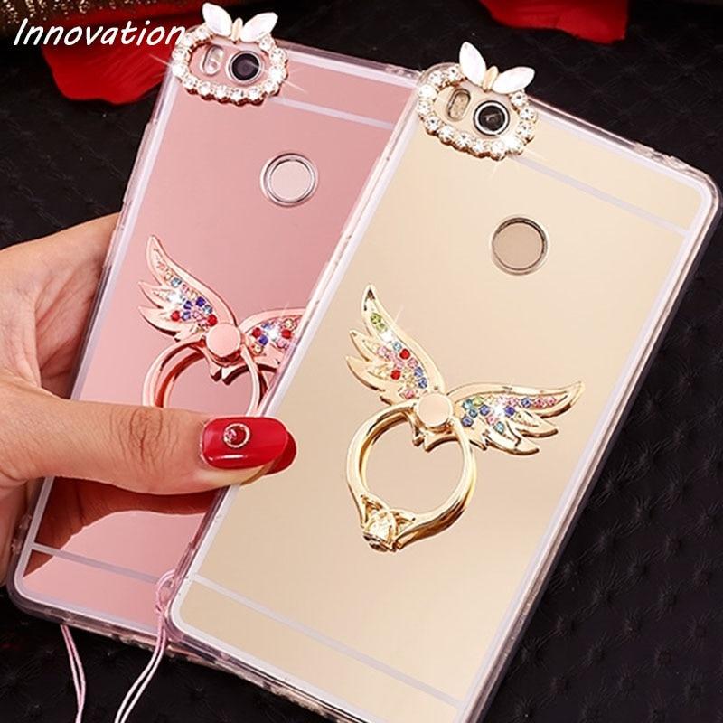 Glitter Ring Mirror Case For Xiaomi Redmi 4A 3S 4X Note Luxury Soft TPU Case For Xiaomi Mi 6 mi 5 5C 5S Coque Silicon Back Cover in Rhinestone Cases from Cellphones Telecommunications