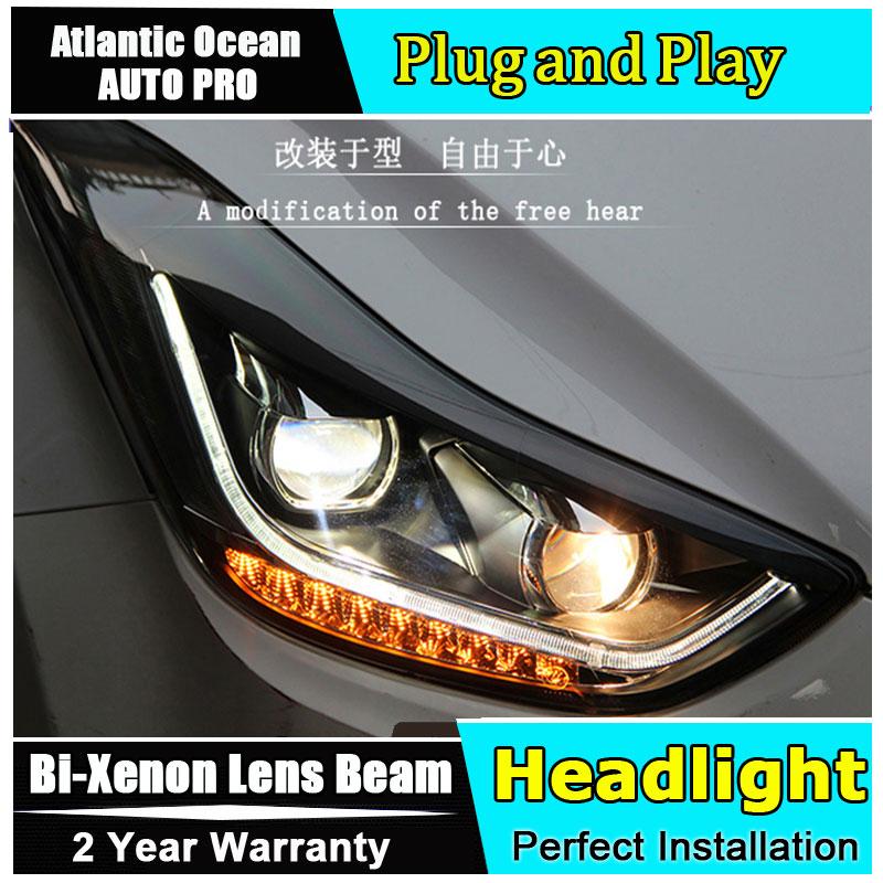 стайлинга автомобилей для Hyundai Элантра фары Элантра 2015 года для Би-ксенона двойной спрятанный набор объектив