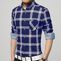 New pattern men shirt sales hot long sleeve shirts men's slim shirts casual cotton plaid formal shirts plus size M-4XL 3 color
