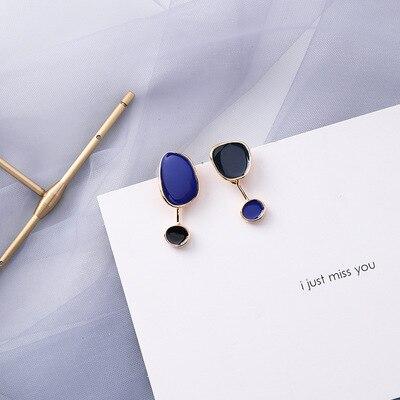 AOMU coréen bleu géométrique acrylique irrégulière cercle creux carré balancent des boucles d'oreilles pour les femmes en métal bosse fête plage bijoux 27