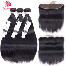 Beau 8A brasiliansk rett hår 4 bunner med blonder Frontal Closure Human Hair Bundles Med Closure 13 * 4Non Remy Hair Extensions