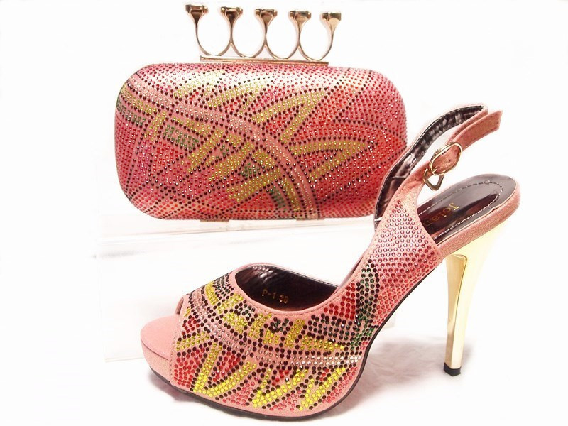 ФОТО Shoes and Bag Peach Color Matching Shoes and Bags for Wedding Women Shoes and Bag Set Decorated with Rhinestone Women JA10-5