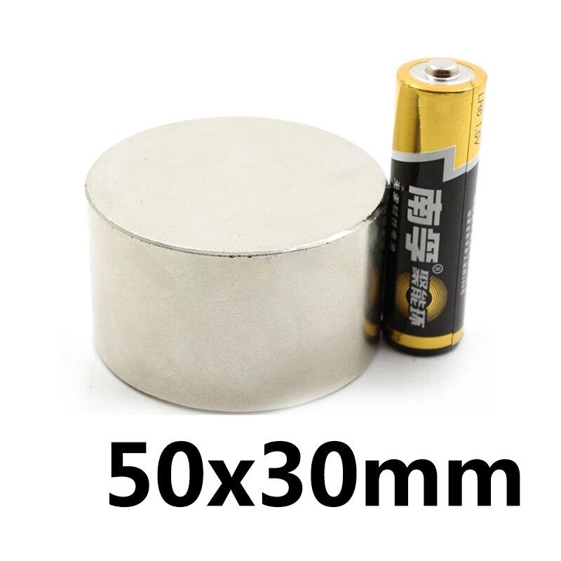 1 pc N35 50x30mm aimant Néodyme Super strong ronde Rare Earth NdFeb plus forte permanent puissant magnétique