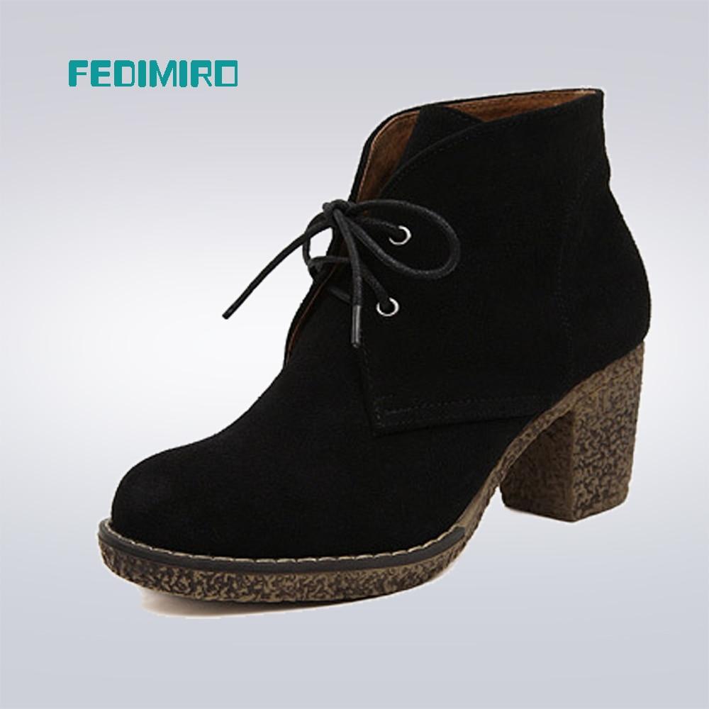 FEDIMIRO Women Genuine Leather Boots 5 Colors Platform Ankle Boots Woman Round Toe Lace-Up Winter Shoes Ladies Autumn Boots women s boots genuine leather ankle boots round toe lace up woman casual shoes with without fur autumn winter boots 568 6