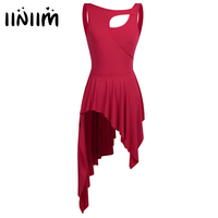 Iiniim 2017 Women Adult Sleeveless High Low Leotard Ballet Dance Dress Front Cut Out Stage Performance