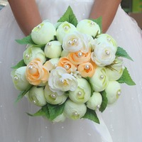 Handmade Fashion Wedding Accessories Bridal Bouquets Pearl Flower Wedding Bouquet With Green Leaf Brooch Bouquet De Mariage
