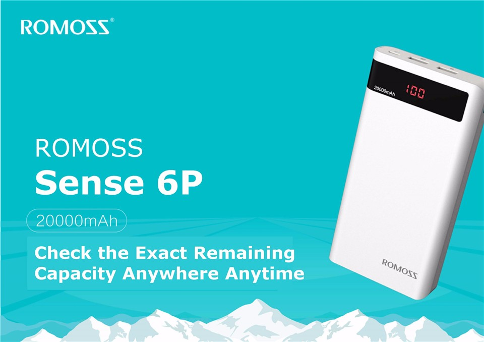 000mAh ROMOSS Sense 6P Power Bank Dual USB Portable External Battery With LED Display Fast Portable Charger For Phones Tablet 4