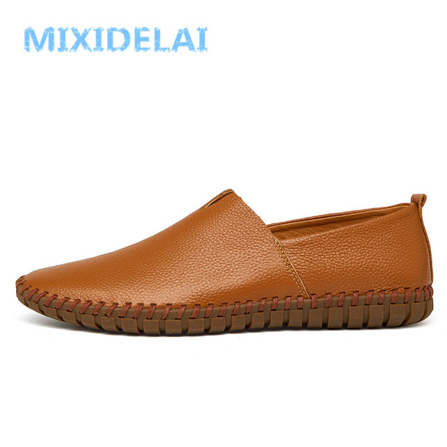MIXIDELAI Genuine Cow leather Mens Loafers Fashion Handmade Moccasins Soft Leather Blue Slip On Men's Boat Shoe PLUS SIZE 38~48 3