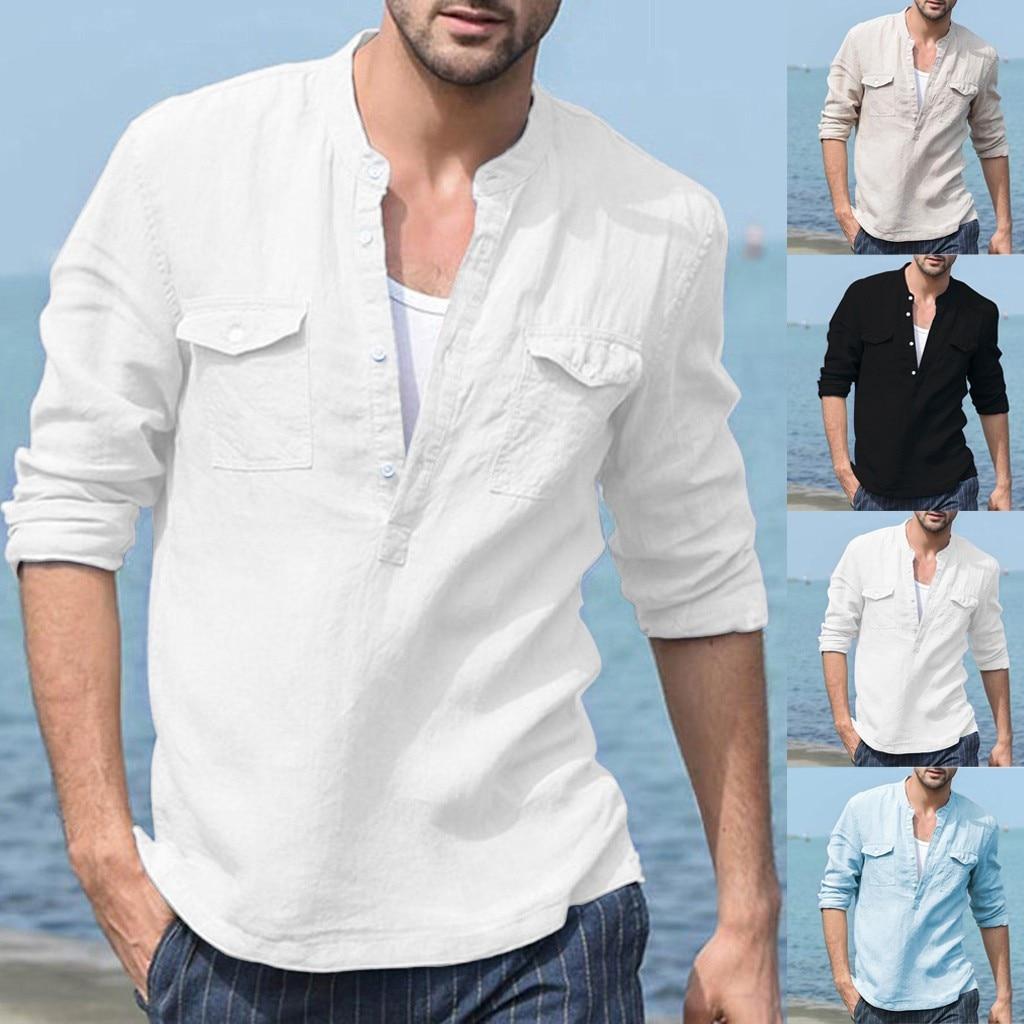 Men's Baggy Cotton Linen Pocket Solid Long Sleeve V Neck Retro T Shirts Tops