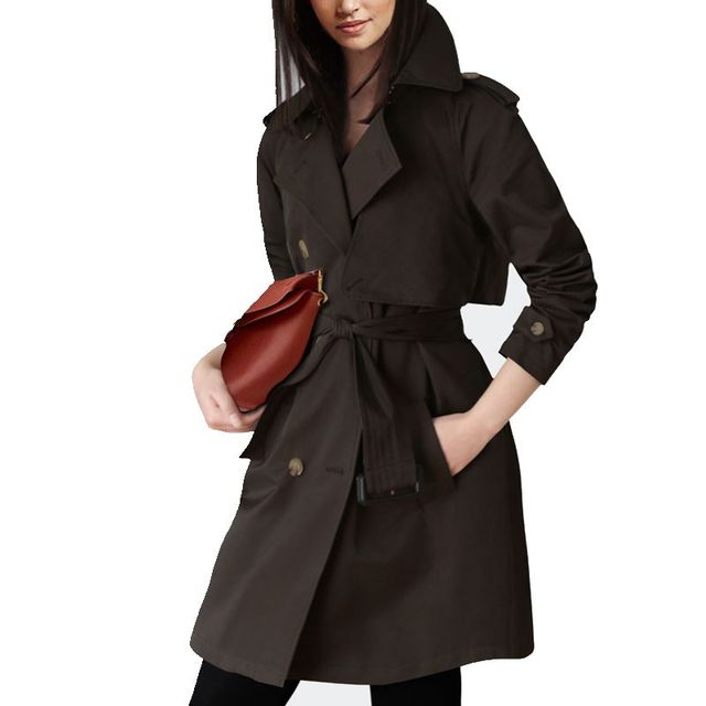 British Style Long Solid Double Breasted Women's Trench Coat Winter 2017 New Turn Down Collar Winter's Coats For Women F699