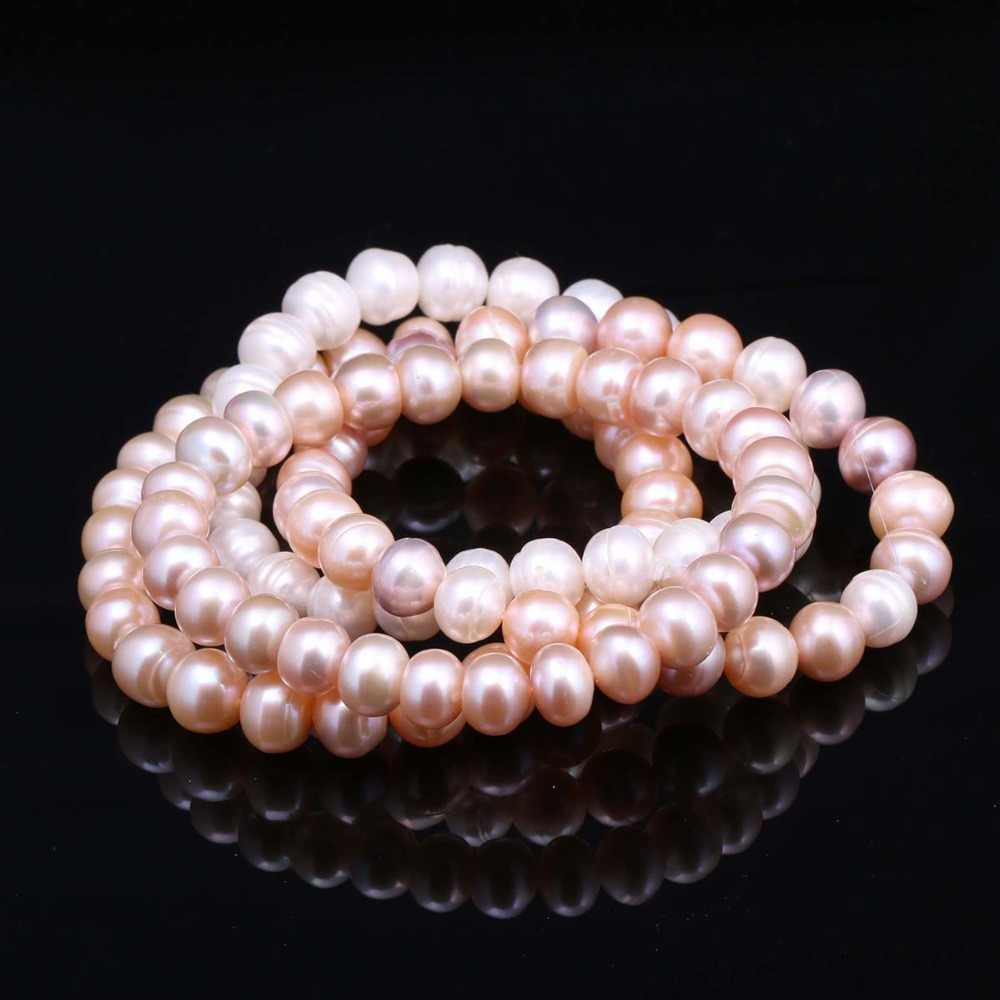 100% Natural Pearl Bracelet Charms Elastic Rope Real Pearl Bracelets for Girl Friend Pearl Size 8-9 mm