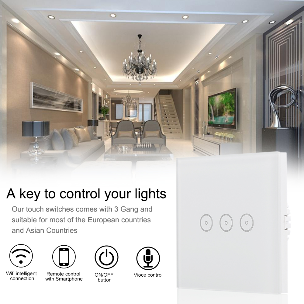 DIY Smart Home EU Wall Mindkdoo LED Touch Light Switch 110 240V 3 ...