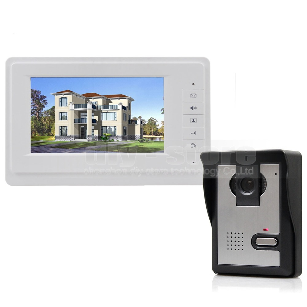 DIYSECUR 600TVLine HD Camera High Quality 7 inch TFT Color LCD Display Video Door Phone Intercom Doorbell Night Vision V70F-L 7 inch video doorbell tft lcd hd screen wired video doorphone for villa one monitor with one metal outdoor unit night vision