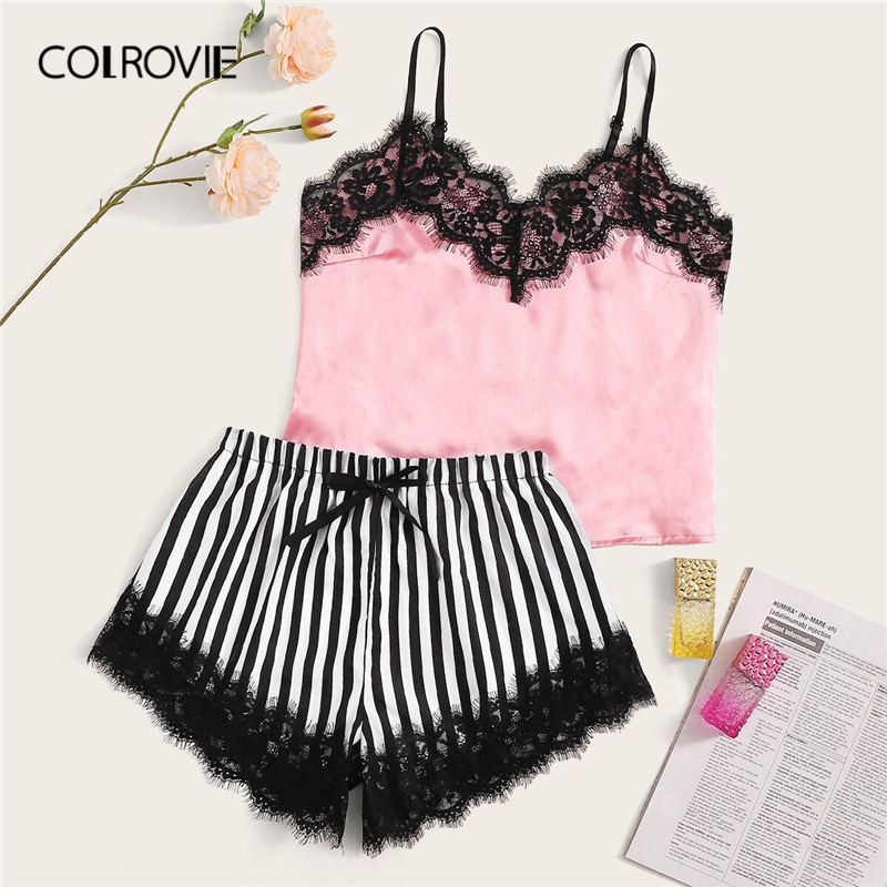 COLROVIE Eyelash Lace Satin Cami With Striped Shorts Women Pijamas Sexy Sleepwear Set 2019 Summer Ladies Shorts Set Nightwear
