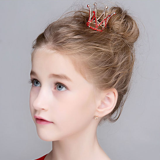 Red Small Girls Crown Tiara Hair Combs Crystal Mini Crown Hair Accessories Jewelry