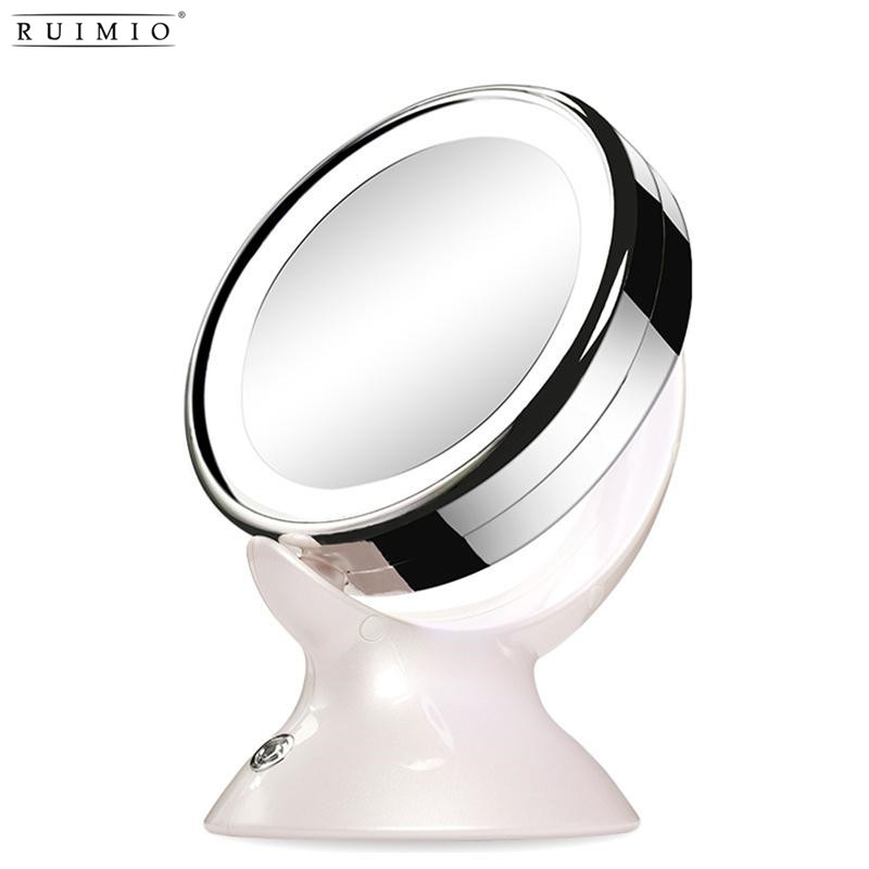 RUIMIO Adjustable 5X Magnification Lighted LED Makeup Mirror Vanity Mirror 360 Degree Swivel Double-sided Table Mirror (White) nyx professional makeup двустороннее зеркало dual sided compact mirror 03