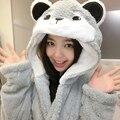 Cosplay Women Men Hooded Robe Animal Winter Spring Bathrobe Pajamas Thick Leisurewear with Hood Sleepwear Cow Stitch Bear Cat