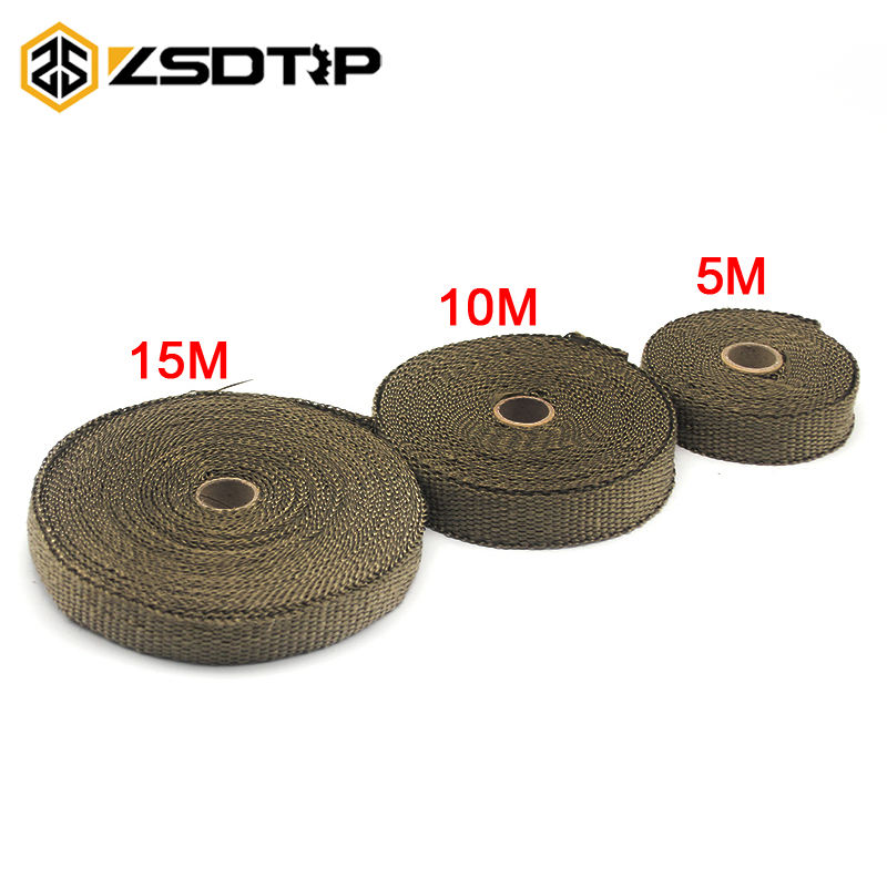 ZSDTRP Motorcycle Incombustible Turbo Manifold Heat Exhaust Wrap Tape Thermal Stainless Tiles 1.5mm*25mm*5m/10m/15m