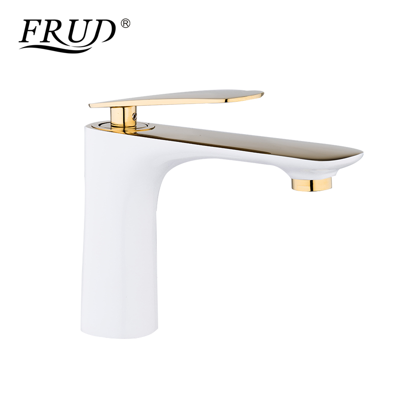 FRUD High Quality Basin Faucets Elegant Bathroom Faucet Hot and Cold Water Basin Mixer Tap Brass Toilet Sink Water White Y10041FRUD High Quality Basin Faucets Elegant Bathroom Faucet Hot and Cold Water Basin Mixer Tap Brass Toilet Sink Water White Y10041