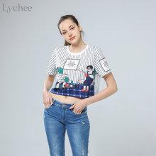 Летний женский укороченный топ Lychee в стиле Харадзюку, Повседневная Свободная футболка в полоску с коротким рукавом, футболка, топ