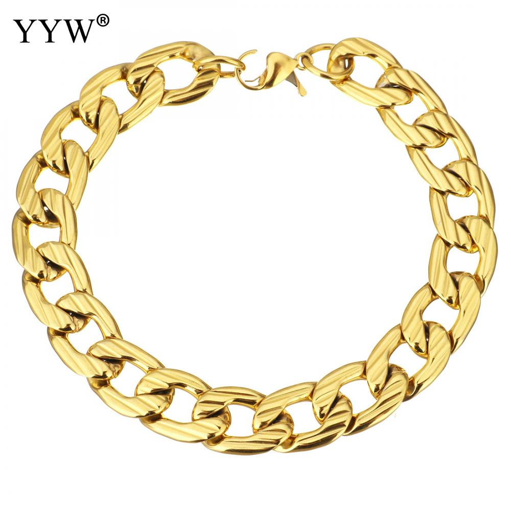 Stainless Steel Jewelry Bracelet plated Unisex Link chain more colors for choice 17x11mm Sold Per Approx 9 Inch Strand
