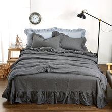 Queen King Size Summer Bedding Set For Adults,100% Washed Cotton Solid Color Duvet Cover+Bed Skirt+Pillow Case,Black Bedding