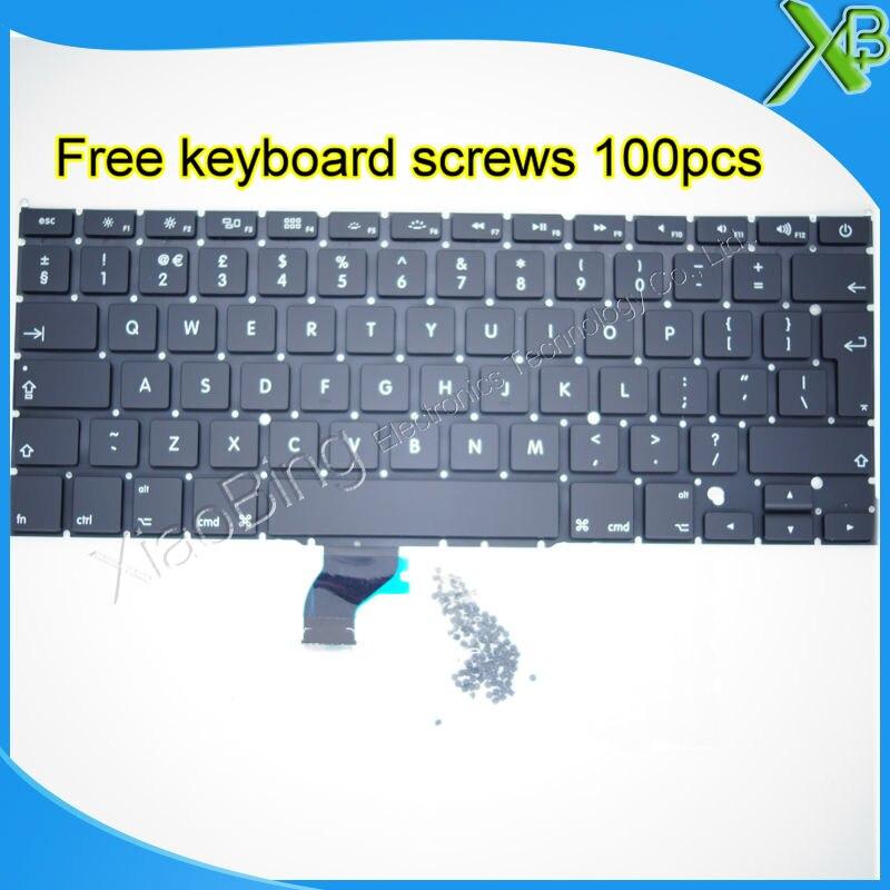 5PCS Brand New UK keyboard 100pcs keyboard screws For MacBook Pro Retina 13 3 A1502 2013
