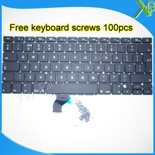 "5PCS---Brand New UK keyboard+100pcs keyboard screws For MacBook Pro Retina 13.3"" A1502 2013-2015 Years(China)"