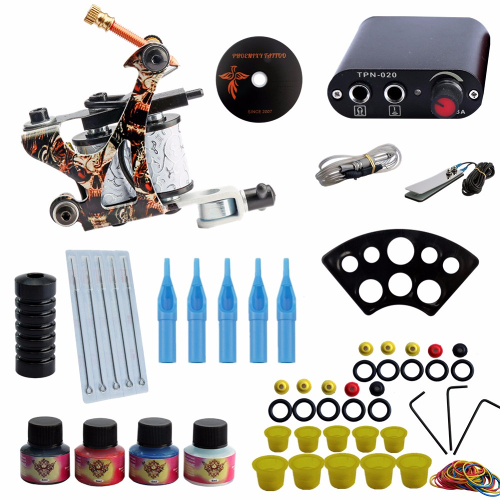Tattoo Kit 4 Colors Tattoo Ink Sets Machines Set Supply Needles Permanent Make Up Professional Tattoo Kit Set professional tattoo kits liner and shader machines immortal ink needles sets power supply