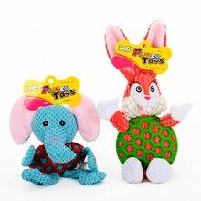 HOOPET Pet Chew Toys Cartoon Elephants and Rabbits Shape Plush Soft Clean Teeth Training Tool Dog Puppy Sound