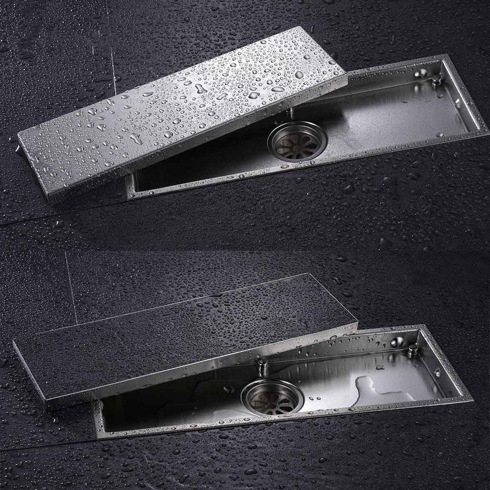 304 Solid Stainless Steel 300 x 110mm Square Anti-odor Floor Drain Bathroom Invisible Shower Floor Drain