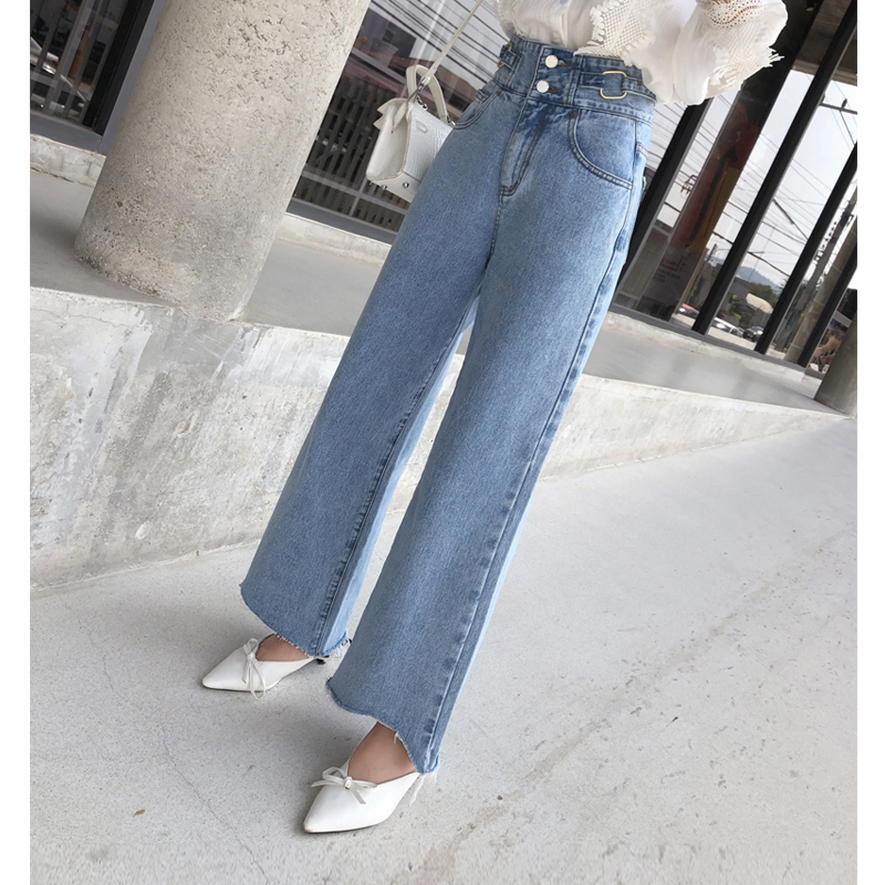 Mishow Vintage High-waist wide leg women   jeans   2019 sping summer pocket cotton denim pants full-length loose   jeans   MX19A2351
