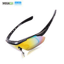 WOLFBIKE Polarized 5 Lens Cycling Eyewear Sun Glasses Mens Sports Bicycle Glasse