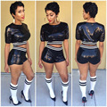 BKLD Sequined Tracksuit 2017 Hot Summer Sexy Women Suits Short Sleeve Crop Tops+Elastic Waist Shorts Female Causal Two Piece Set