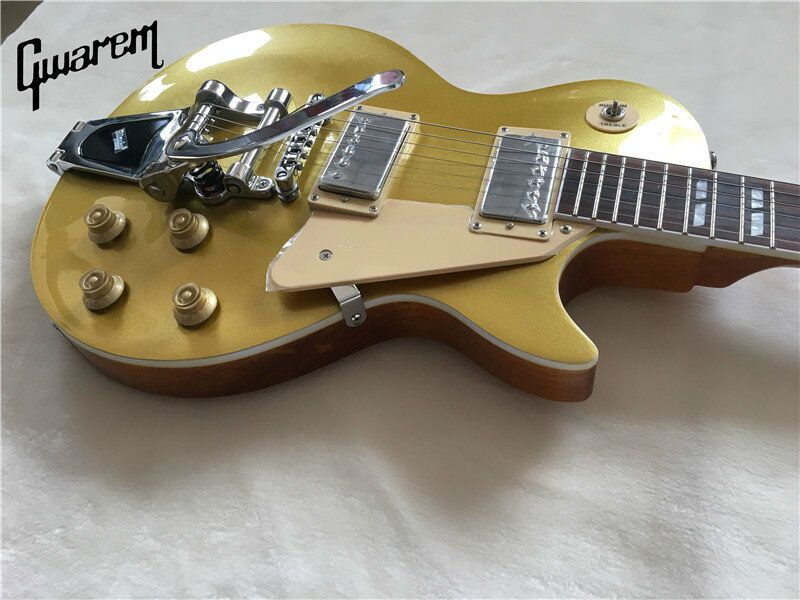 Electric guitar Gwarem lp standard guitar gold top/with bigsby tremolo/guitar in china best price of the white lp standard electric guitar china with bigsby rosewood fretboard guitar free shipping