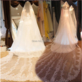 Real Sample Free Shipping Stunning Applique Sequins White Ivory Wedding Veil 1Tier 3 Meter Cathedral Bridal Veils