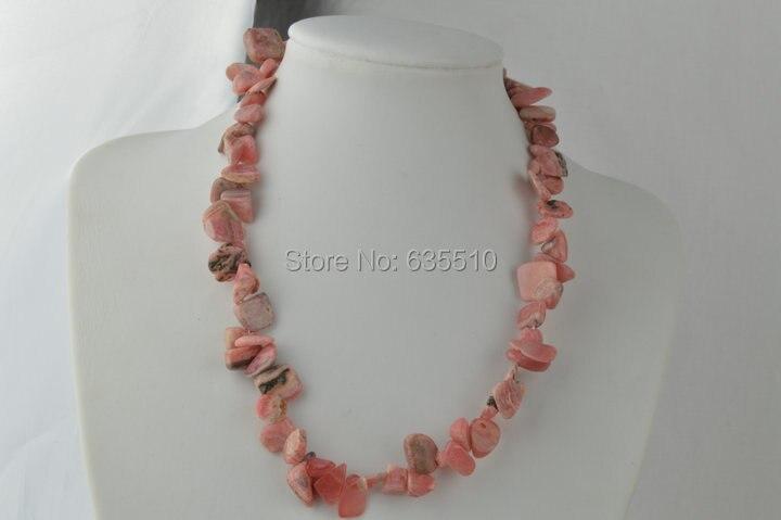 d70d6e65d35576 Un pc Rhodochrosite pierre de forme libre perles collier Rhodonite chute à  plat perles bijoux avec extender chaînes