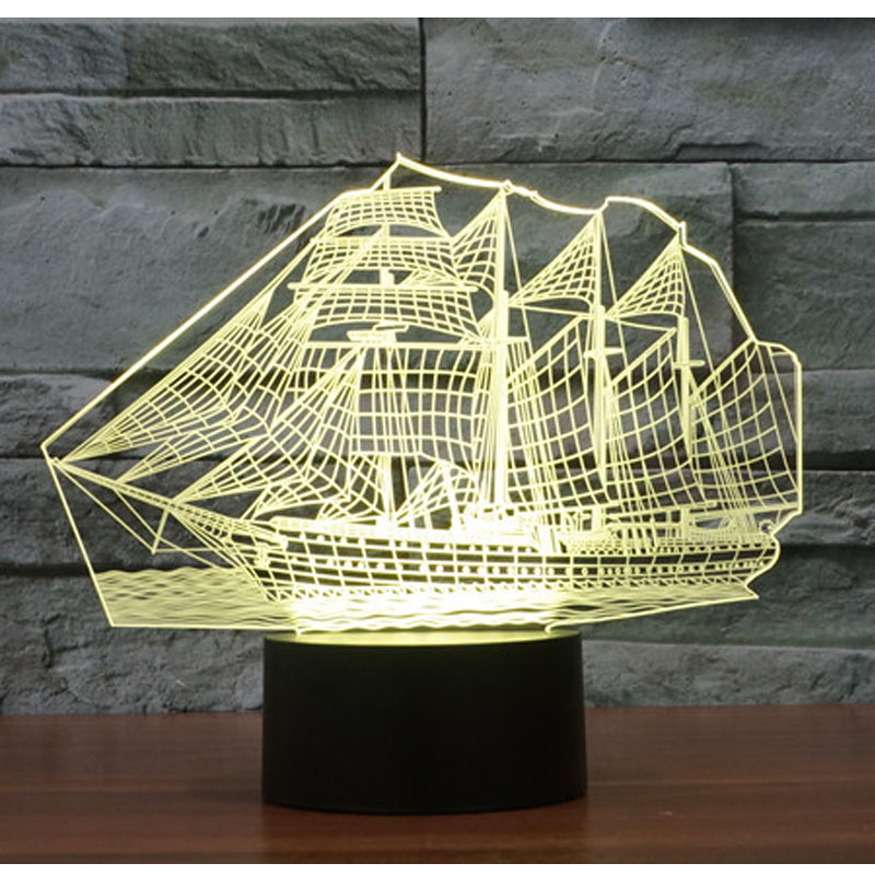 3D LED Night Light Ship Sailboat with 7 Colors Light for Home Decoration Lamp Amazing Visualization Optical Illusion Awesome