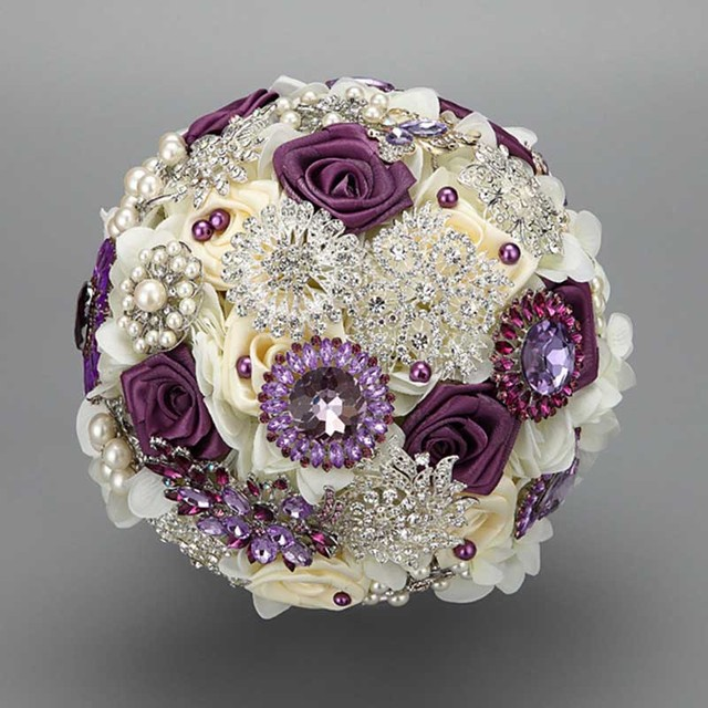 High Quality 2016 luxurious Customized Bridal YIYI  Bouquet With Pearl Beaded Brooch Wedding Colorful Bride 's Bouquet WD036